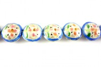 Enamel Blue, Pink & Green Floral Beads - Coin Shape