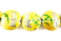 Yellow Enamel Beads with Dragonflies - Puffed Coin