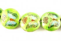 Enamel Lime Green Butterfly Beads - Puffed Coin