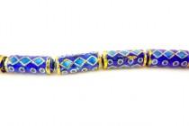Enamel Cobalt Blue & Turquoise Geometric - Tube