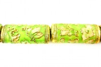 Enamel Lime Green Butterfly Beads - Tube