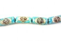 Aqua Blue Cloisonne Flat Tube Beads with Long Life Symbol CL-126