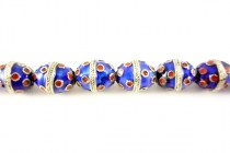 Enamel Cobalt Blue & Red Beads - Egg Shape
