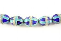 Aqua Blue & Cobalt Blue Cloisonne Egg Shaped Beads - Triangle Design CL-09
