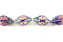 Cobalt Blue & Pink Cloisonne Six Sided Lantern Beads with Floral Accents CL-10