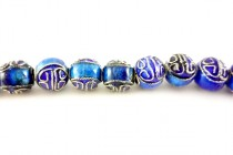 Cobalt Blue Cloisonne Round Beads with Swirl Design CL-108