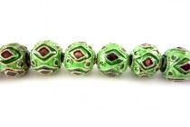Enamel Green & Brown Diamond - Round