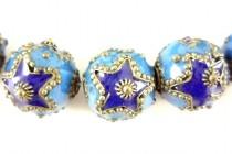 Enamel Cobalt Blue & Turquoise Large Star - Round