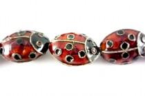 Red & Black Enamel Large Ladybug Beads