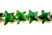 Enamel Green & Gold Beads - Star Shape