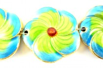 Enamel Lime Green & Turquoise - Flower Shape