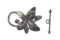 Gun Metal Over Pewter Toggle Clasp Flower - 23mm x 30mm