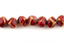 Red Glazed Porcelain Beads - Diagonally Drilled Cube