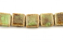 Green & Brown Glazed Porcelain Beads - Flat Rectangle