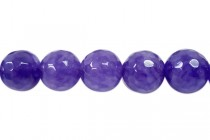 Agate (Dyed ) Faceted Disco Ball Cut Round Gemstone Beads - Purple