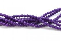 Mountain Jade (Dyed) Smooth Round Stone Beads - Dark Purple
