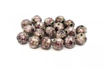 Burgundy Cloisonné Round Beads with Stars LSC-20