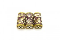 Burgundy Cloisonne Tube Beads with Butterflies and Flowers CL-82