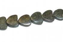 Pyrite (Natural) Heart Gemstone Beads