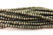 Pyrite (Natural) Faceted Rondelle Gemstone Beads