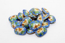 Blue Cloisonne Oval Beads with Lily Flower CL-22
