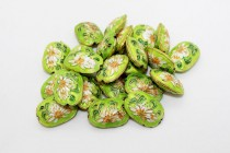 Lime Green Cloisonne Oval Beads with Lily Flower CL-23