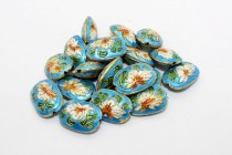 Aqua Blue Cloisonne Oval with Lily Flower CL-20