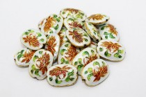 White Cloisonne Oval Beads with Red Lily Flower CL-26