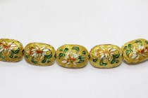 Yellow Cloisonne Oval Beads with Lily Flower CL-27