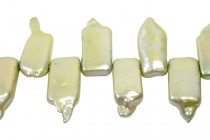 Rectangle ( Top Drilled ) Freshwater Pearl, Green, Light ( Dyed  ) 8x19mm