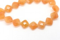 Red Aventurine (Natural) Diagonally Drilled Square Faceted Gemstone Beads