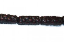 Black & Red Cinnabar (Imitation) Carved Tube Beads