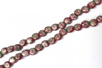 Porcelain Beads Flat Dime, Red Floral,7mm