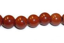 Red Jasper (Natural) Smooth Round Gemstone Beads - Large Hole