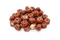 Red Jasper (Natural) Six Sided Drum Gemstone Beads