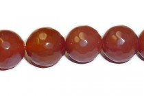 Agate (Dyed ) Faceted Disco Ball Cut Round Gemstone Beads - Red Orange