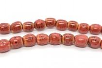 Red Glazed Porcelain Barrel Beads