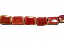 Red Glazed Porcelain Beads - Flat Rectangle
