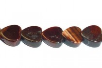 Red Tigers Eye (Natural) Heart Gemstone Beads