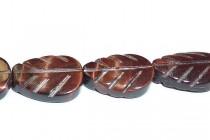 Red Tigers Eye (Natural) Carved Leaf Gemstone Beads