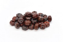 Red Tiger Iron (Natural) Six Sided Drum Gemstone Beads