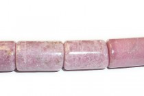 Rhodonite (Natural) Tube Gemstone Beads - Large Hole