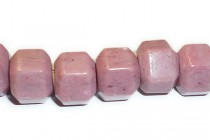 Rhodonite (Natural) Big Hole Six Sided Drum Gemstone Beads