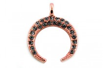 Beadelle Crystal Mini Charm, Crescent Moon, Rose Gold / Hematite