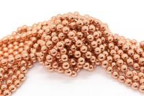 Rose Gold Coated Hematine (Imitation Hematite) Smooth Round Gemstone Beads