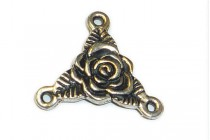 Antique Silver Plated Trinity Rose Rosary Connector - TierraCast®