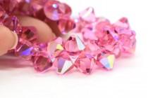 Rose AB Swarovski Crystal Top Drilled Bicone Pendants 6301
