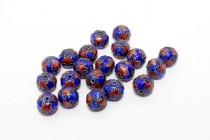 Enamel Cobalt Blue & Orange Star - Round