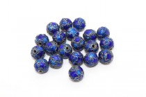 Cobalt Blue Cloisonne Round Beads with Stars CL-99
