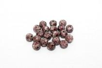 Enamel Burgundy (Stars) Round Bead